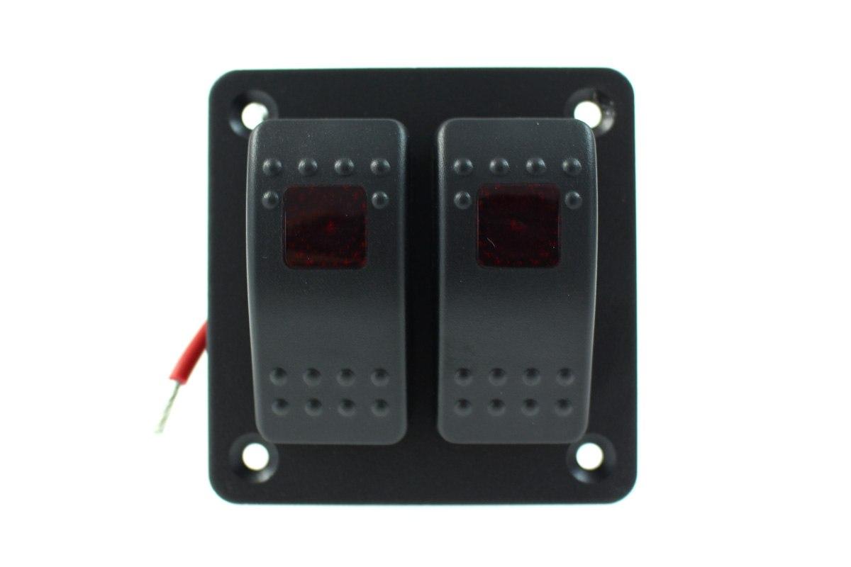Włącznik panel Alu, ON/OFFx2 Red - GRUBYGARAGE - Sklep Tuningowy